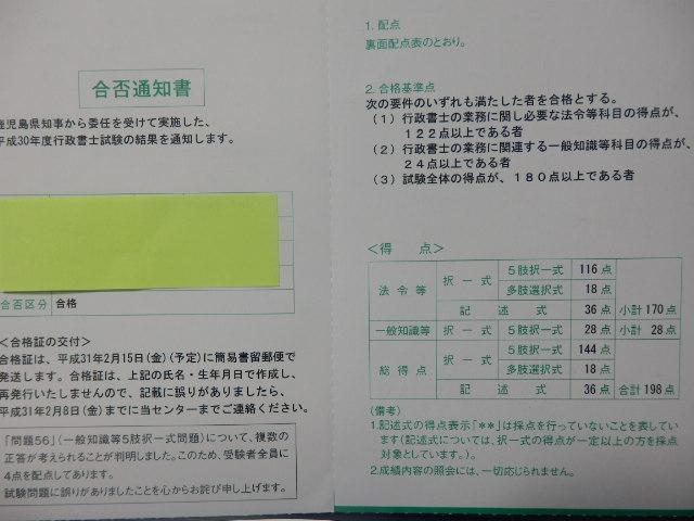私の行政書士合格通知書