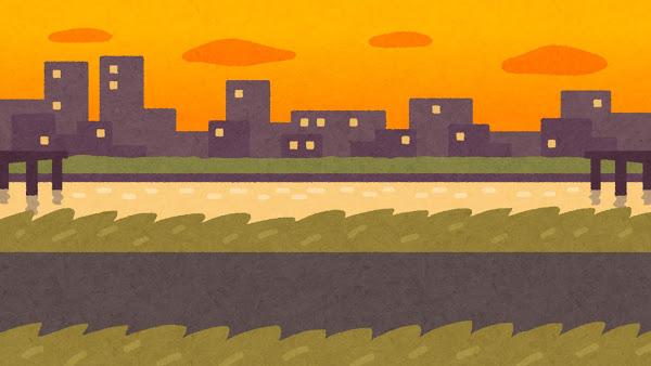 夕焼けの河川敷の絵
